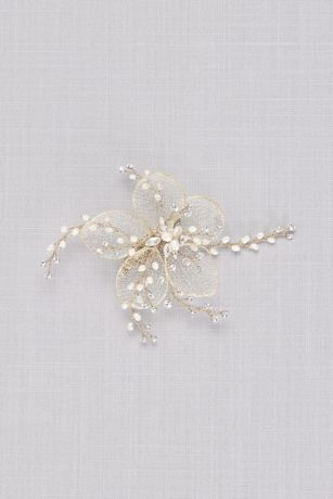 Gilded Mesh Flower Hair Clip with Crystal Sprigs