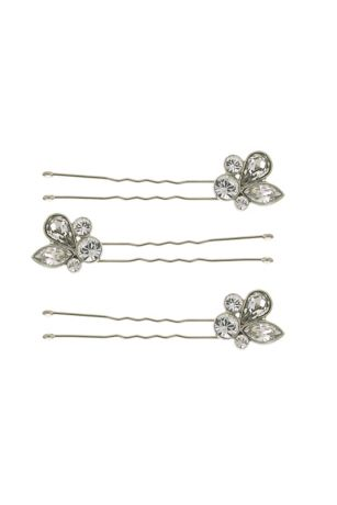 Leafy Crystal Cluster Hair Pin Set