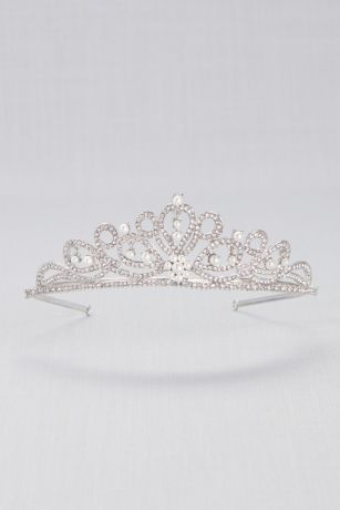 Scrolling Pave Crystal and Pearl Tiara