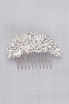 Arched Floral Crystal Cluster Comb