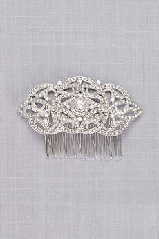 Art Deco Pave Crystal and Pearl Comb