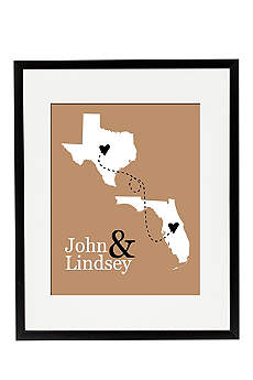 Personalized State Distance Wedding Sign