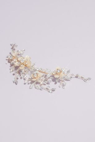 Floral Vine Headpiece with Crystals and Pearls