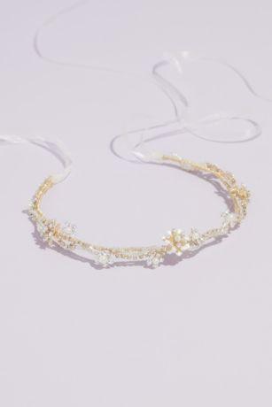 Wavy Crystal and Pearl Cluster Headband
