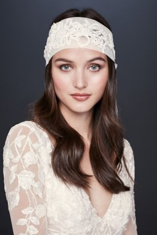 Lace Appliqued Tulle Bridal Headband