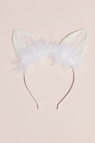 Lace and Feathers Satin-Wrapped Cat Ears Headband