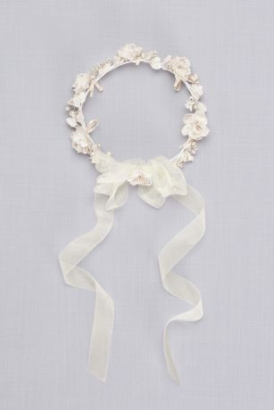 Champagne Pearl Flower Girl Crown