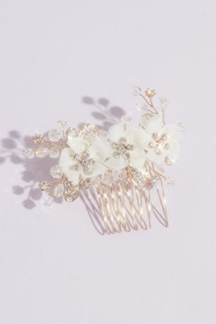 Organza Flower Comb with Round Crystals