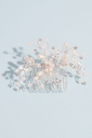 Pearl Floral Comb with Crystals