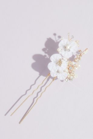 Ribbon Flower and Crystal Cluster Hair Pin Set