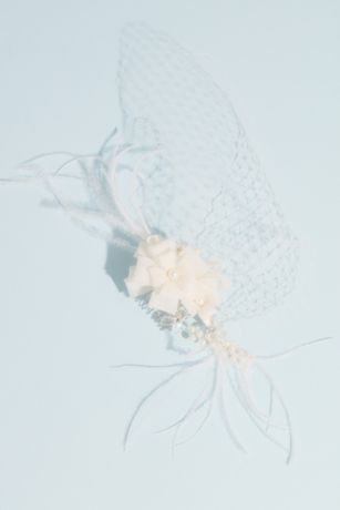 Ribbon Flower Comb with Wispy Feathers and Fishnet