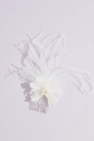 Small Ribbon Flower Comb with Wispy Feathers