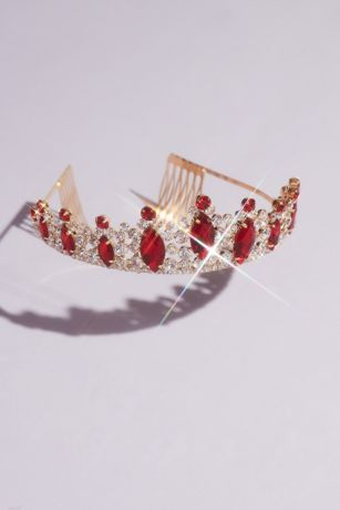 Ruby-Red Center Stone Quinceanera Tiara