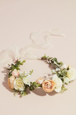 Boho Faux Flower Crown with Organza Ribbon