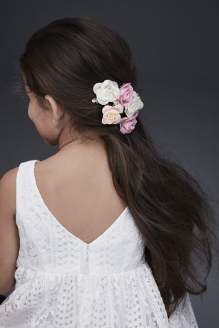 Fabric Rosette Flower Girl Hair Clip Set