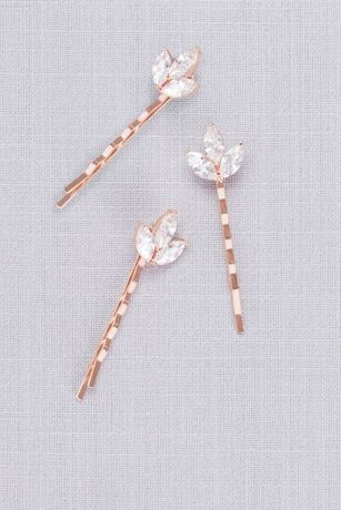 Triple Petal Crystal Hair Pin Set