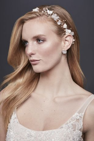 3D Flower Ribbon-Tie Headband with Pearls