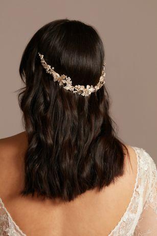 Filigreed Leaf Crystal and Pearl Headband