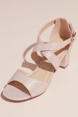 Pink Paradox Black;Pink Heeled Sandals (Shimmery Crisscross Strap Block Heel Sandals)
