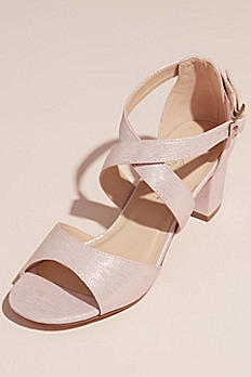Shimmery Crisscross Strap Block Heel Sandals HADID