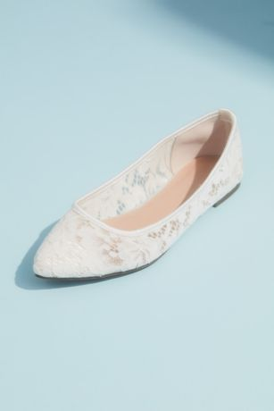 David's Bridal Ivory Ballet Flats (Illusion Lace Pointed Toe Flats with Satin Piping)