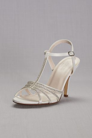 David's Bridal White Heeled Sandals (Crystal T-Strap High Heel Sandal)