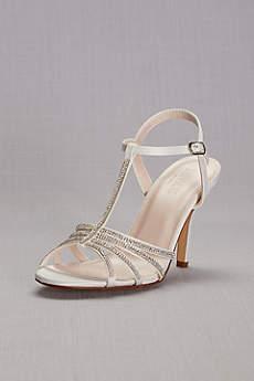 David's Bridal White Peep Toe Shoes (Crystal T-Strap High Heel Sandal)