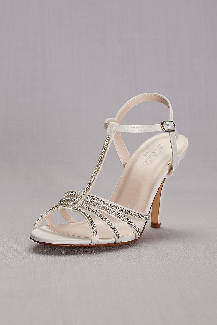 David s Bridal White Heeled Sandals (Crystal T-Strap High Heel Sandal) 5b070b67e