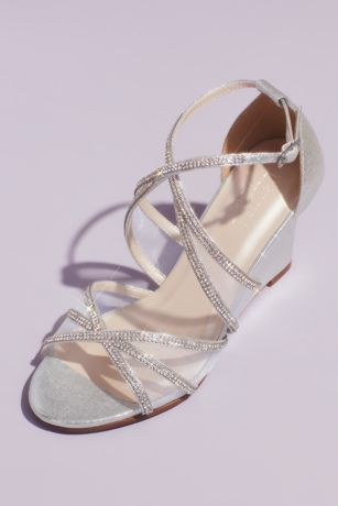 David's Bridal Grey;Pink Wedges (Crystal and Illusion Crossed Metallic Wedges)