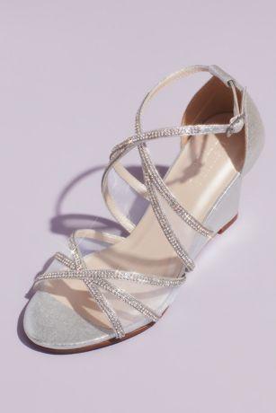 Grey;Pink Wedges (Crystal and Illusion Crossed Metallic Wedges)