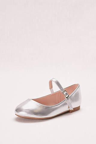 Flower girl shoes girls dress shoes davids bridal blossom grey flowergirl shoes metallic mary jane girls ballet flat mightylinksfo