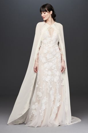 Floor Length Chiffon Bridal Cape with Lace Trim