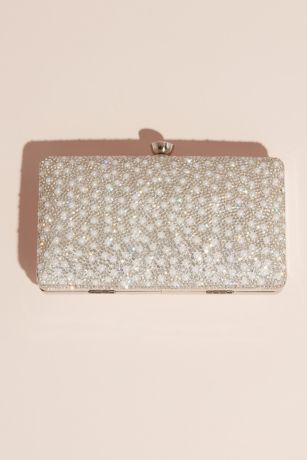 Crystal and Pearl Embellished Glitter Box Clutch