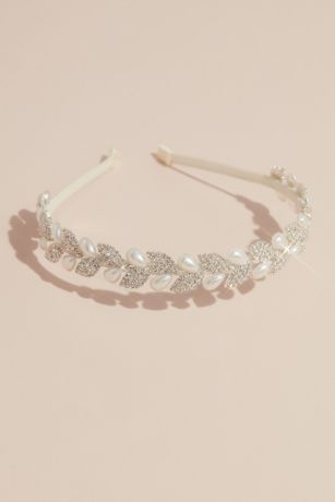 Crystal Leaves and Pearl Teardrop Headband