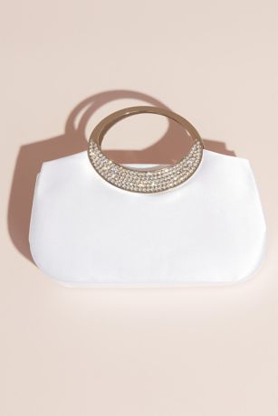 Dyeable Satin Clutch with Rhinestone Handle