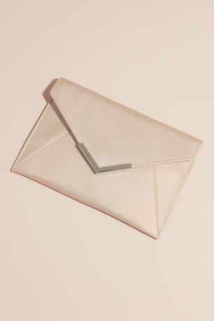 Matte Metallic Envelope Clutch with Gilded Tip
