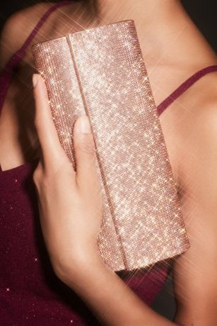 Metallic Baguette Foldover Crossbody Clutch
