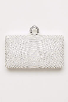 Curved Pearl and Crystal Minaudiere