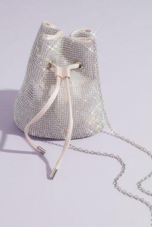 Satin-Lined Crystal Crossbody Bucket Bag