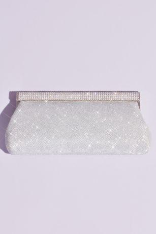 Crystal Top Clasp Glitter Baguette Clutch