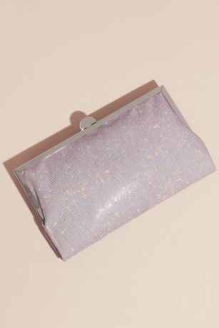 Iridescent Glitter Frame Clutch with Metal Clasp