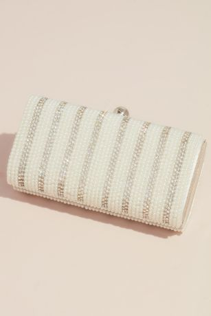 Faux Pearl and Crystal Striped Curved Minaudiere