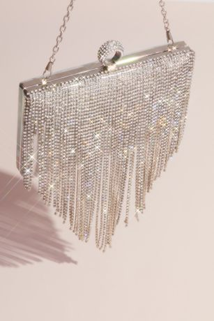 Dangling Crystal Fringe Clutch