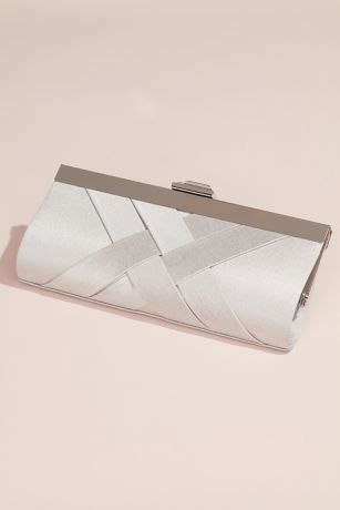 Woven Satin Frame Clutch