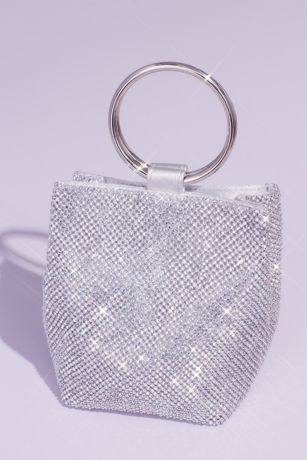 Crystal Mesh Crossbody Bag with Ring Handle