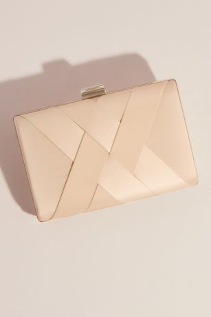 Woven Front Box Clutch with Crystal Clasp