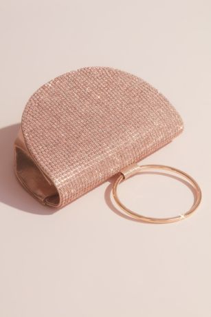 Crystal-Studded Half Moon Ring Clutch