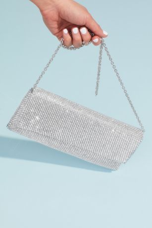 Metallic Beaded Mesh Foldover Clutch
