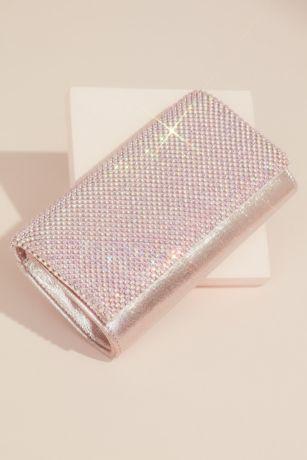 Glitter Clutch Handbag with Crystal Mesh Fold