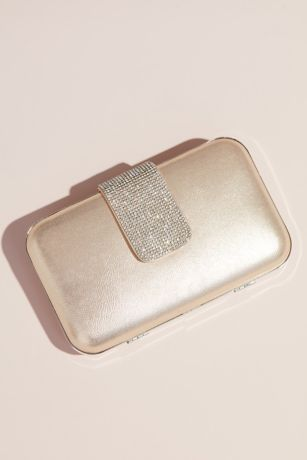 Crystal Closure Metallic Minaudiere